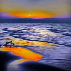 dawn by Fereshteh Molavi - Digital Art Places ( waves, se, clouds, sun )
