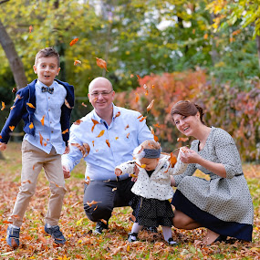happy family by Costi Manolache - People Family ( mother, autumn, family, happy, leaves, father )