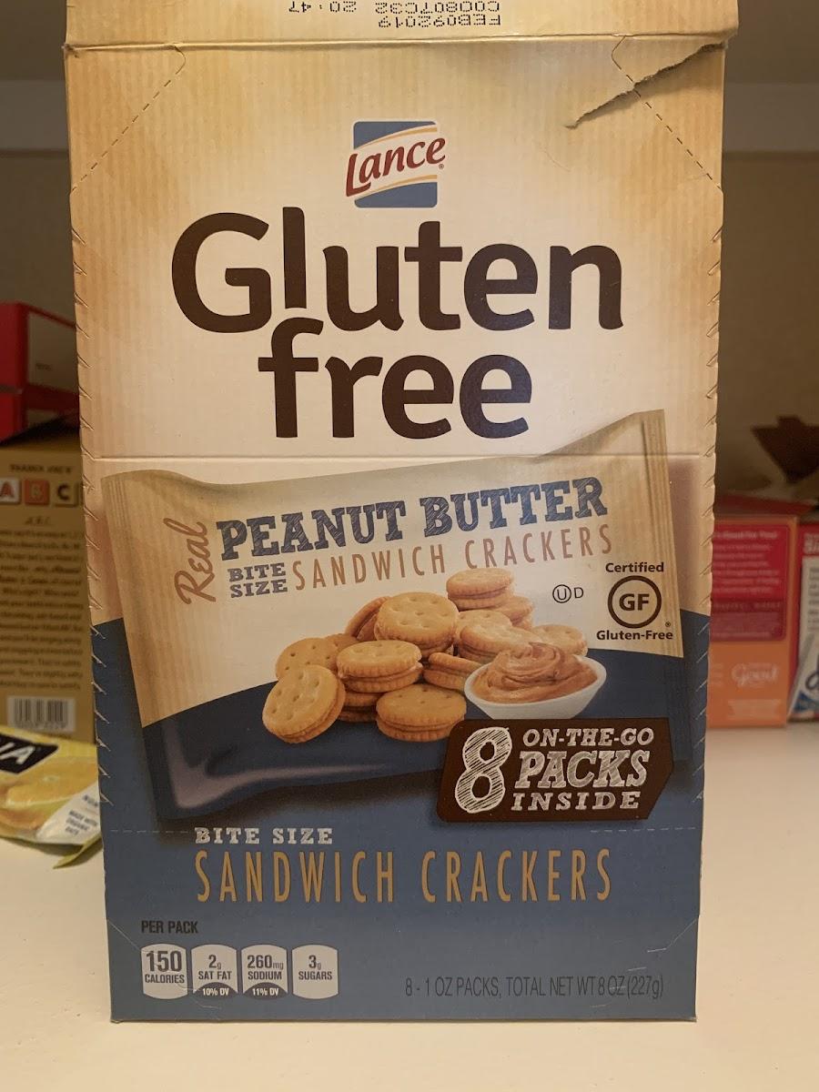 Gluten Free Bite Size Sandwich Crackers, Peanut Butter