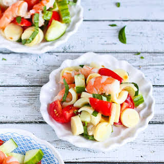 Shrimp, Hearts of Palm, Cucumber & Tomato Salad.