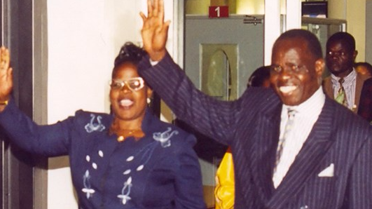 Archbishop Gilbert Deya (R) and his wife Mary.