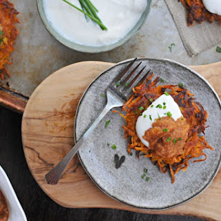 Two-potato Latkes With Smoky Eggplant Relish, Spiced Persimmon-apple Sauce + Sour Cream