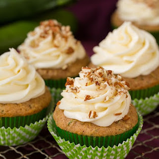 Spiced Zucchini Cupcakes with Cream Cheese Frosting.