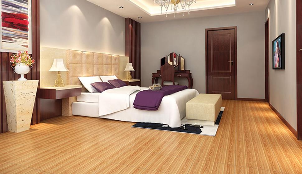 hãy lựa chọn chất liệu gạch lát nền cho sàn phòng ngủ bằng gỗ thô đơn giản với tông màu ấm áp