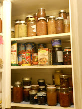 Photo: Pantry shelves that are accessible to the boys, applesauce on the top self, soups and canned fruit on the  middle, and jams/jellies for sandwiches on the bottom. Keeping the pantry filled with staples means we aren't as rushed for breakfast, lunch, or snacks.