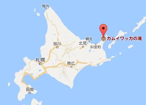 地図:カムイワッカの湯