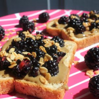 Blackberry and Sunflower Seed Butter Sandwiches on Gluten-Free Bread.
