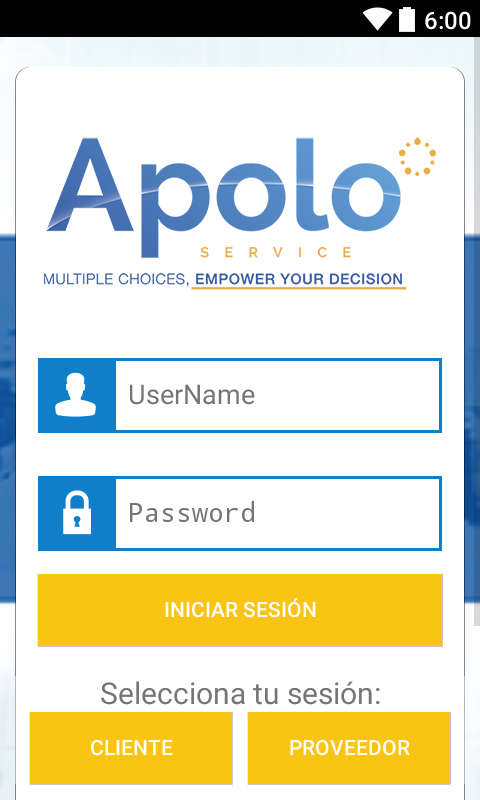 Apolo Service: captura de pantalla