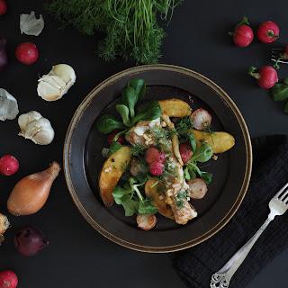 Pan-Seared Fish & Radish Salad with Slow-Fried Potatoes.