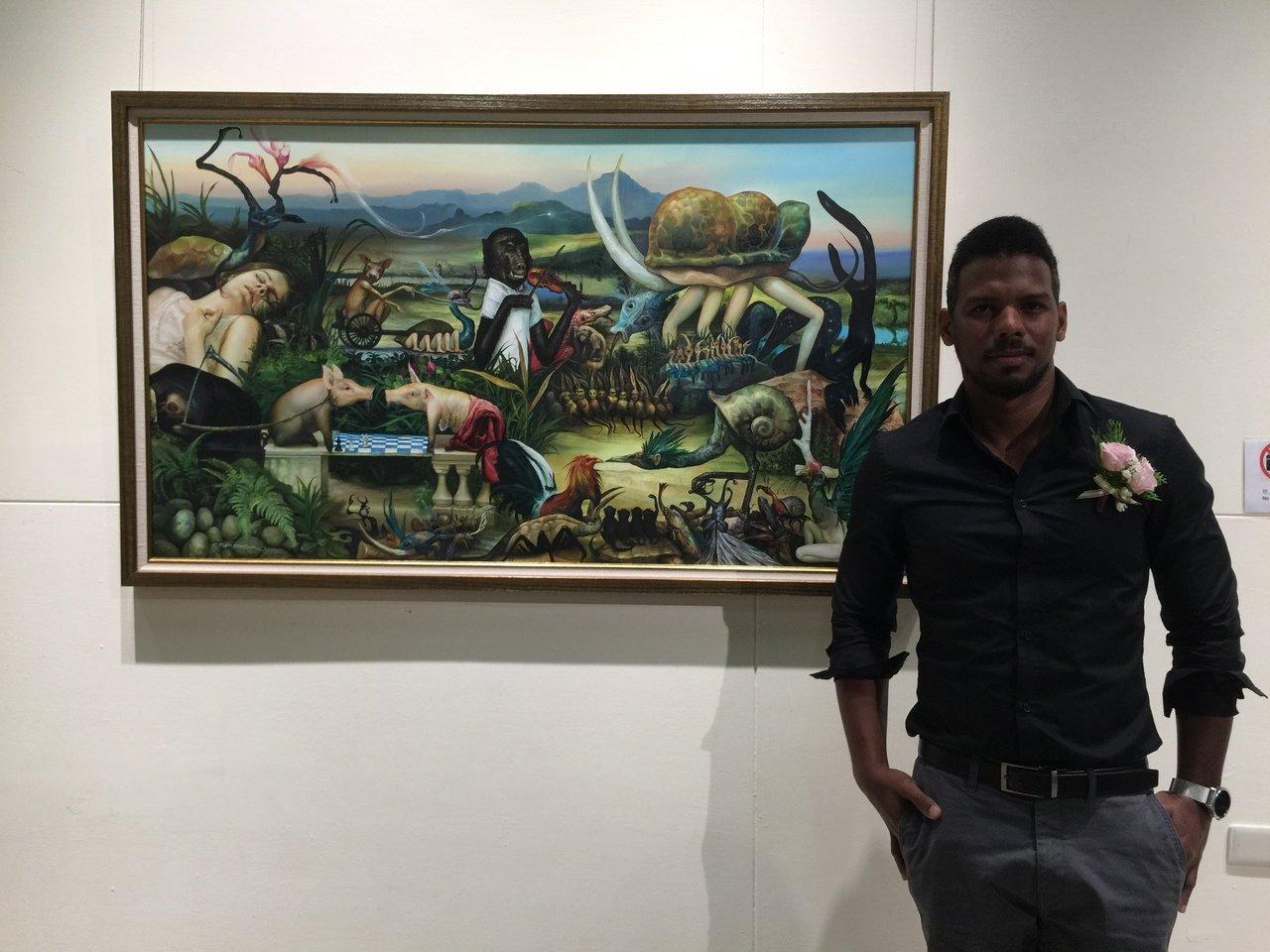 古巴畫家Reydel Espinosa與作品《夢行者 The Dreamer》合...