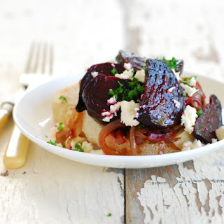 English Muffins with Roasted Beetroot, Balsamic Onions & Feta.