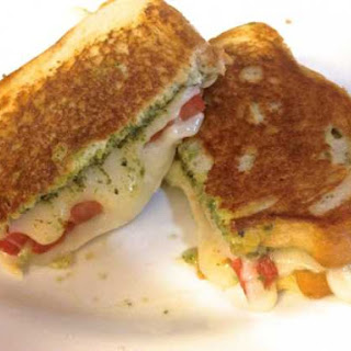 Grilled Fresh Mozzarella, Tomato and Pesto Sandwich