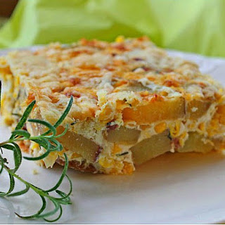 Potato Quiche with Sweet Corn and Rosemary.