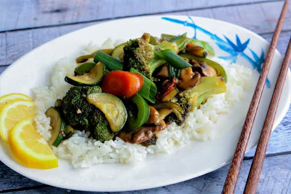 Lemony Vegetable Stir-fry Served Over White Rice.