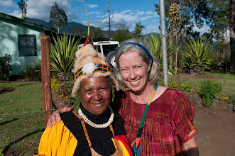 Photo: LCMS missionary Julie Lutz with a member of the Gutnius Lutheran Church in Papua New Guinea