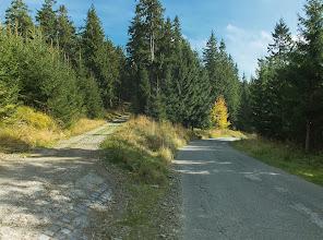 """Photo: Sjezd po silničce z Lysé. V tuto chvíli kousek pod """"mílnikem"""", označujícím šestý  km od rozcestí Papežov"""