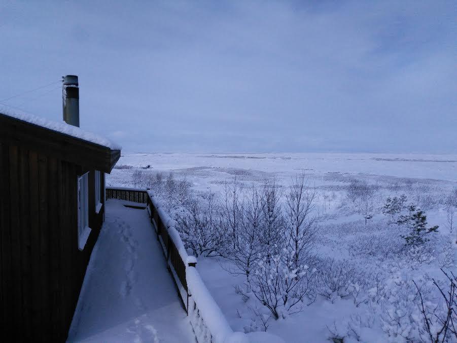 Landscape around Unnastaðir are covered by snow during winter in Iceland