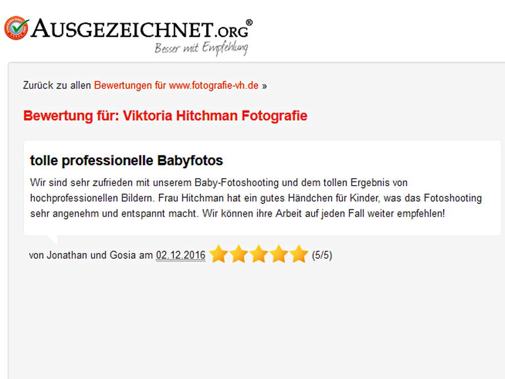Bewertung für Fotostudio in Heidelberg.