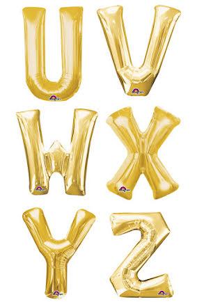 Folieballong bokstav U-Z, guld