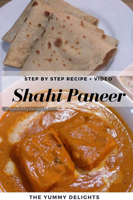 close-up of shahi paneer gravy served with Roti.