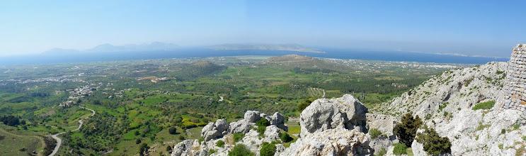 Photo: View of Kalymnos and Pserimos islands and Alykes lake, from Paleo Pili, Kos. Vista delle isole Kalymnos e Pserimos e del Lago Alykes, da Paleo Pili, Kos