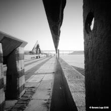 Photo: Wide gauge railway track, Brunel Quay, Neyland. 37mm focal length 6x6 Fuji ACROSS 100