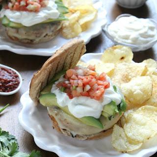 Southwestern White Bean Burgers with Avocado, Pepperjack, & Pico de Gallo.