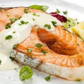 Pressure Cooker Salmon Steaks with Yogurt Tartar Sauce