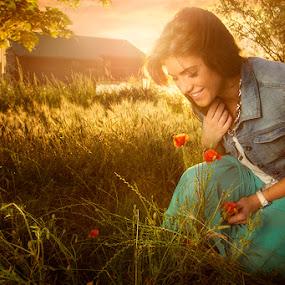 Princess Angela by Bojan Dzodan - People Portraits of Women ( field, girl, nature, sunset, light, sun, flower )