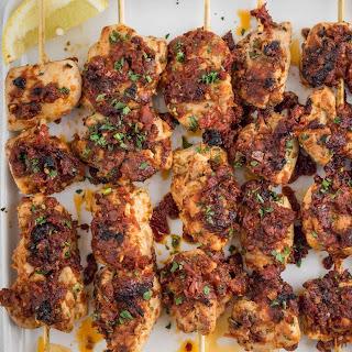 Pollo alla Diavola (Spicy Chicken Skewers) with Sun-Dried Tomato Sauce.