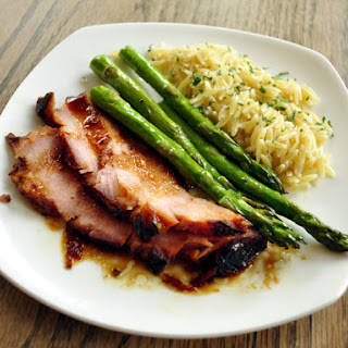 Apricot Mustard Glazed Ham with Roasted Asparagus