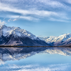 New Zealand by Dom Del - Landscapes Mountains & Hills ( clouds, water, mountains, blue sky, snow, reflections )