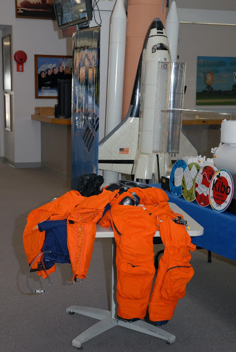 In the NASA News Center components of the astronauts' launch and entry suit are on display for the media.