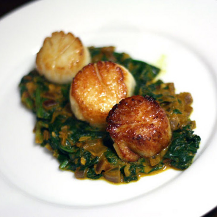 Seared Scallops With Indian Spinach