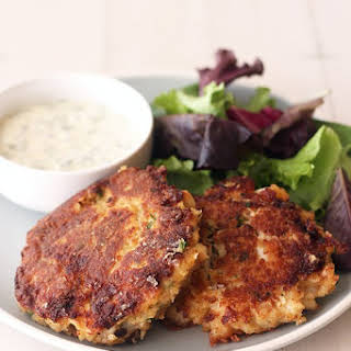 Crab Cakes with Lemon Herb Sauce.