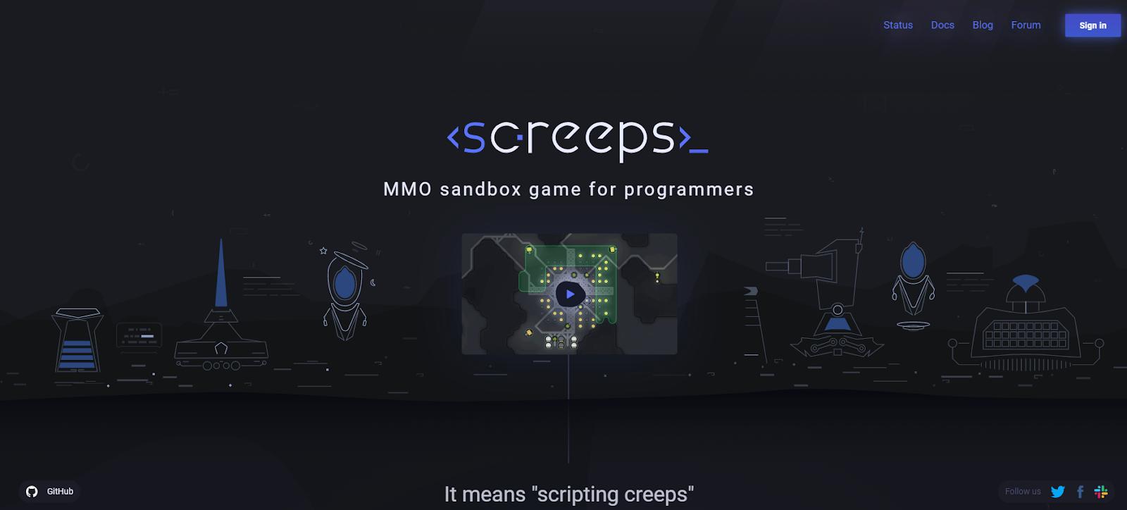 скриншот игры для программистов Screeps