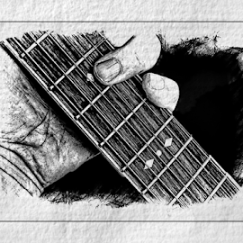 Playing the Guitar by Anthony Balzarini - Digital Art Things ( #guitar, #fretting, #6string, #makingmusic, #guitarstrings )