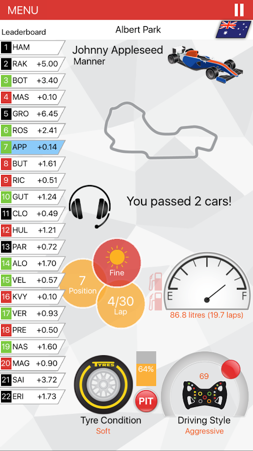 APEX Race Manager- screenshot