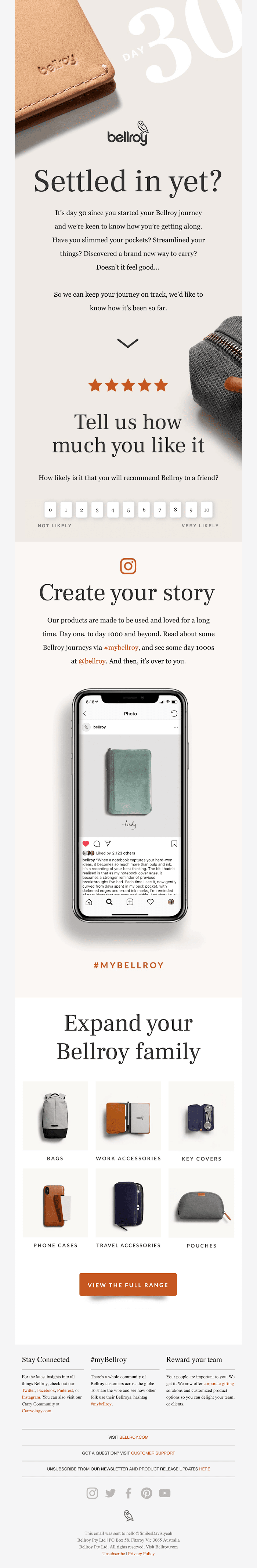 Bellroy's post purchase follow up email.
