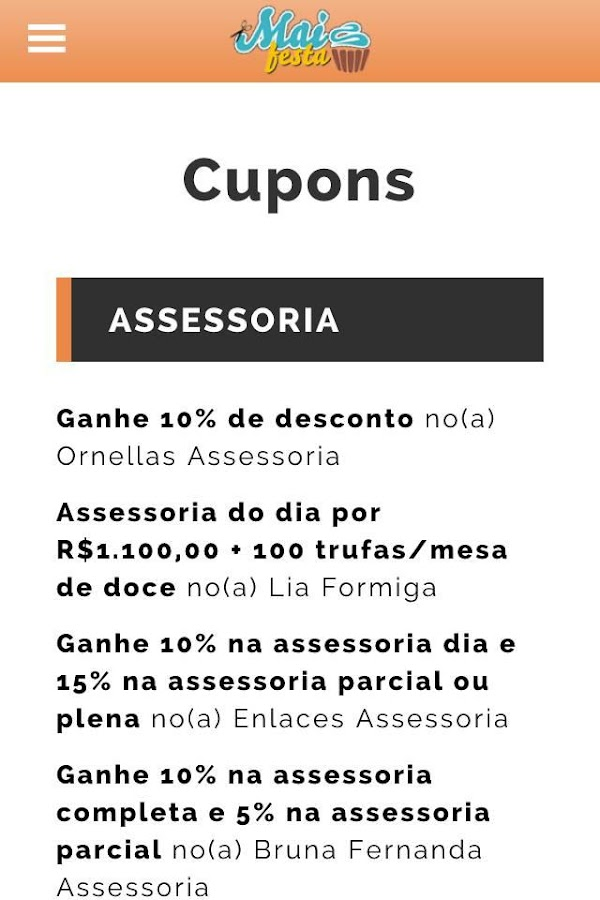 Mais Festa Descontos: captura de tela