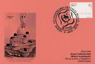 Photo: Tarjeta del matasellos del 125 aniversario de la Fiesta del Bollo de Avilés