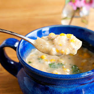 Crab and Corn Chowder with Bacon and Jalapeño.