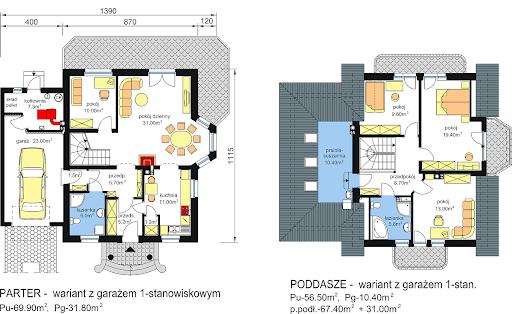 BW-23 garaż 2 stanowiskowy - Rzuty parteru i poddasza - propozycja adaptacji - wersja z garażem 1-stanowiskowym