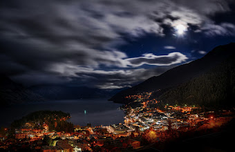 Photo: Moon in the sky... A view of Queenstown at 7:30 AM! I took this photo off my balcony in the morning... I'm renting a place high on a hill that I found here: http://www.bookabach.co.nz/baches-and-holiday-homes/view/10532 -- It's a great place!  Since we are so far on the south island, the days of winter are short... this is nice because it means I don't have to wake up toooooo early for sunrise shots until the summer! :)  (and thanks to +Jason Law for giving me a ride back last night after the meeting!)