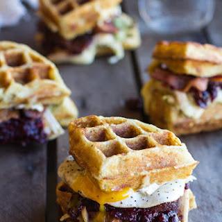 Mashed Potato Waffle, Crispy Turkey, Smashed Avocado, Cranberry and Brie Melts.