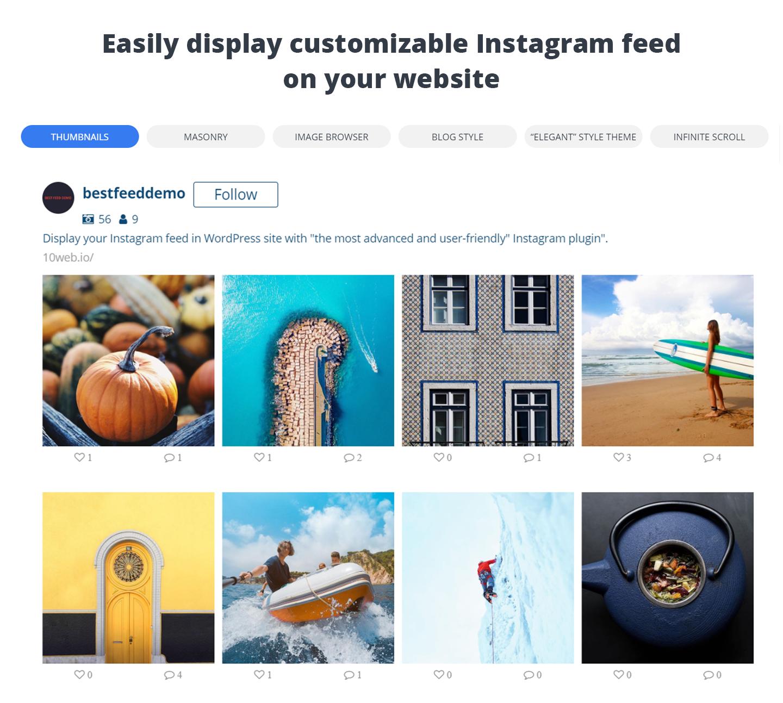 Instagram feed with Follow button embedded on WordPress site via 10Web Social Photo Feed Instagram WordPress Plugin