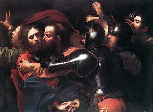 Photo: Title: The Taking of Christ Artist: Michelangelo Merisi da Caravaggio Medium: oil on canvas Size: 133.5 cm × 169.5 cm Date: c. 1602 Location: National Gallery of Ireland, Dublin. http://iconsandimagery.blogspot.com/2009/07/taking-of-christ.html