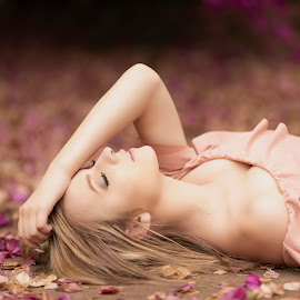 Jennifer Lee by Leanne Vorster - People Portraits of Women ( beauty, nature, natural light, jennifer lee, model, pink flower, pink dress, eyes closed )