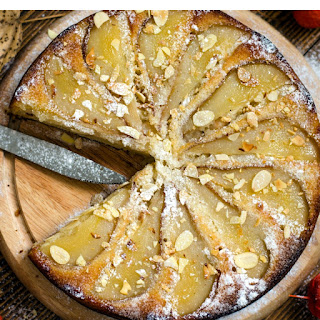 Pear and Almond Gingersnap Cheesecake.