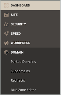 On the left column, Domain and DNS Zone Editor are selected.